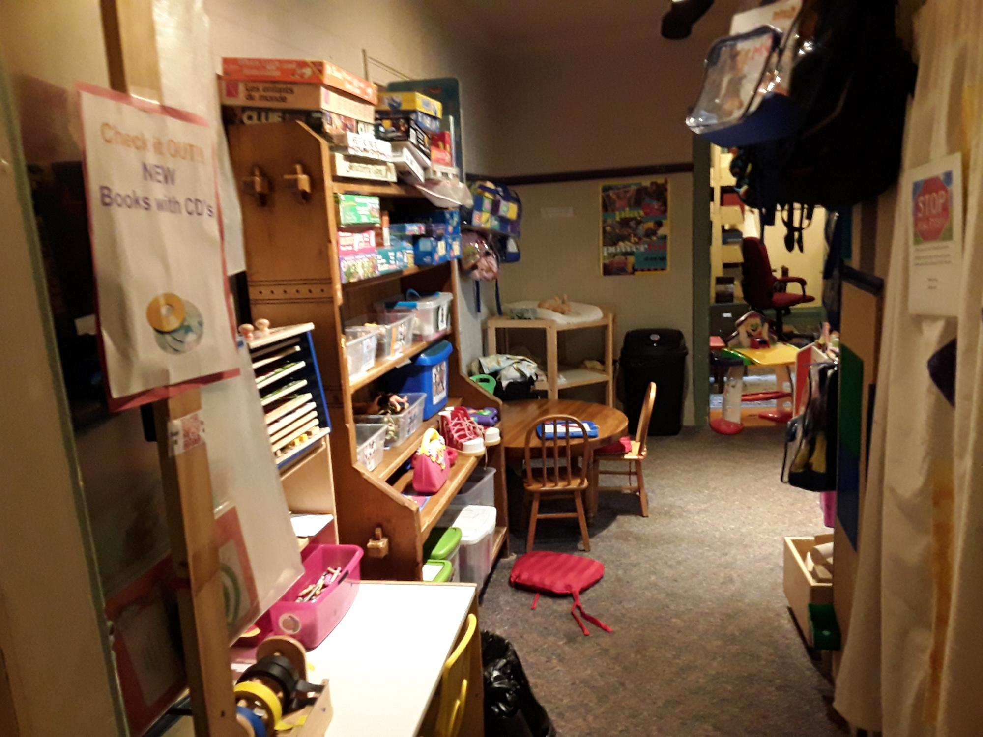 This is an area where we have added the changing area and some early learning games.