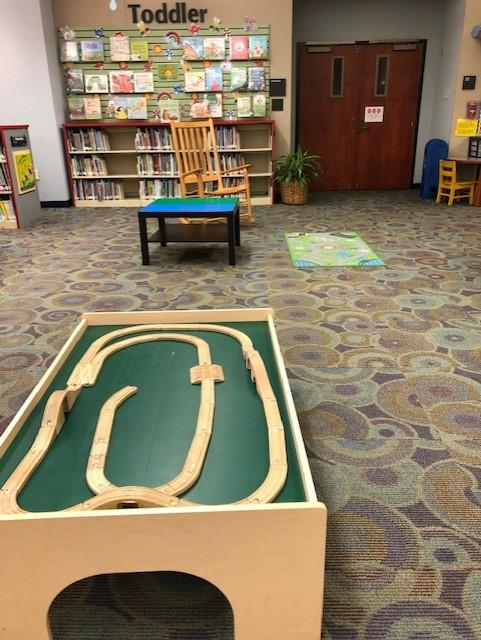 CCPL Main Library Play Space: Train Table, LEGO Table, and Transportation Rug