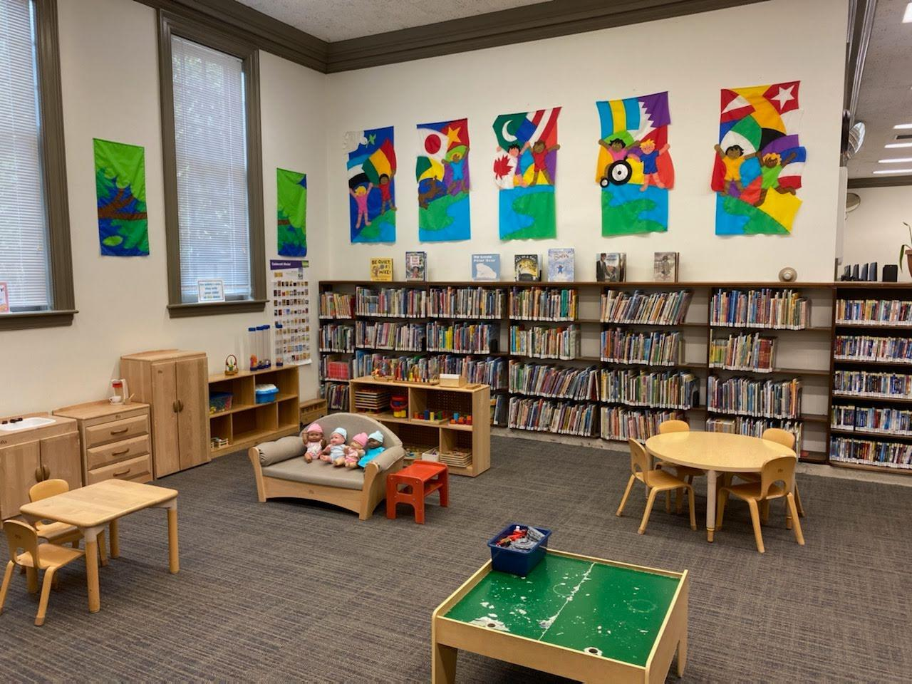 Kid Zone area including collection and Family Resource Center