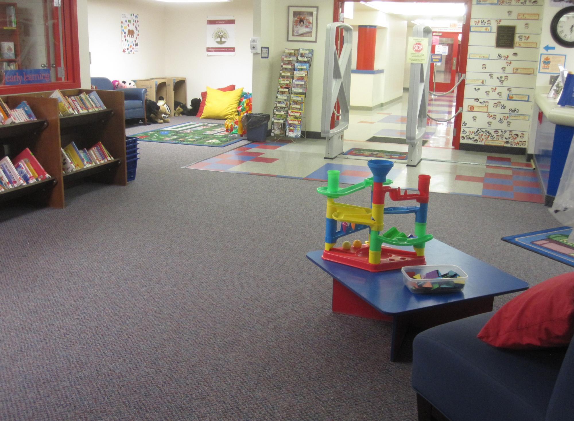 "Our ""Welcome corner"", right next to our Parent-Teacher Resource Center"