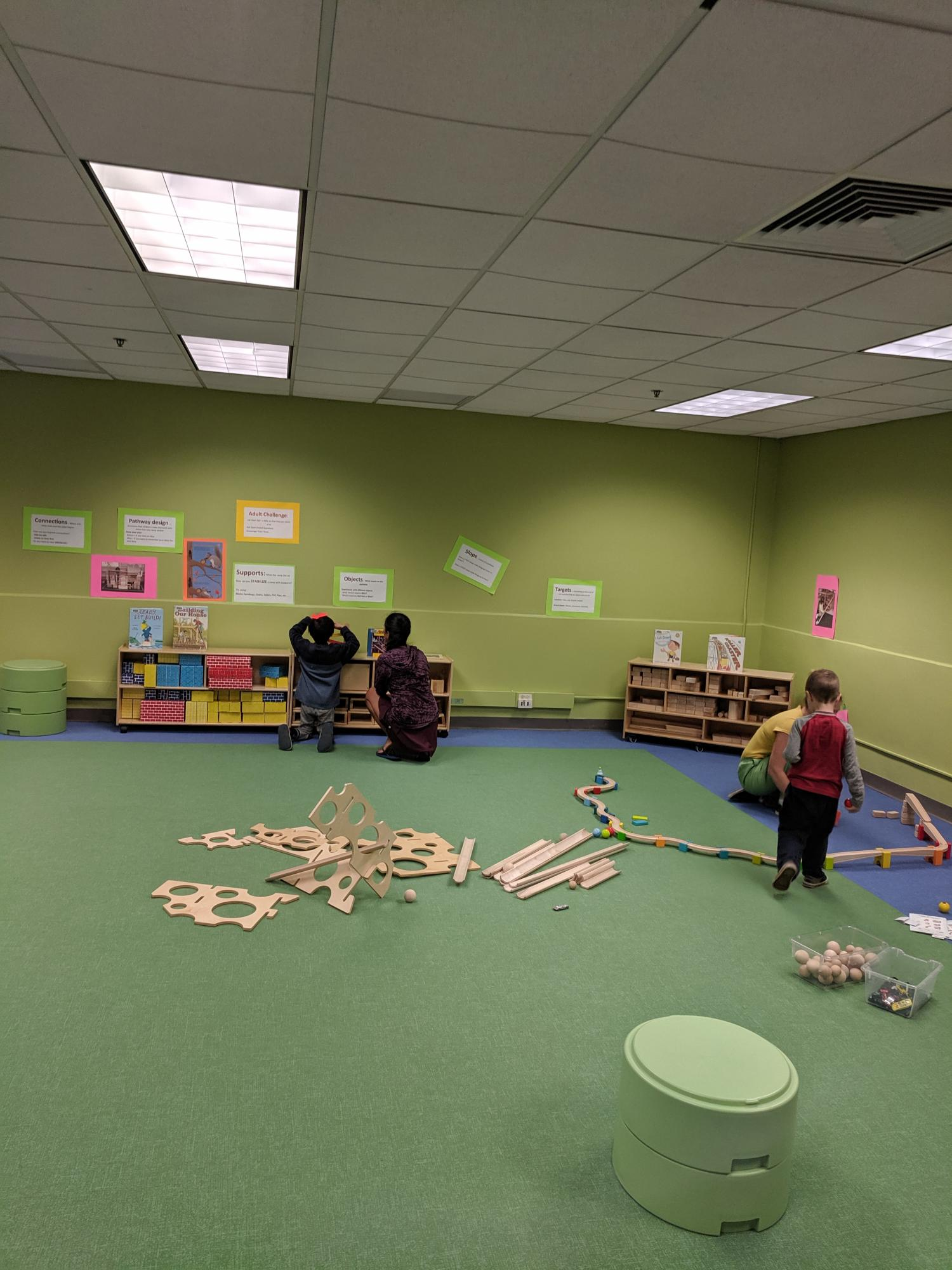 Playing with ramps and blocks at Little Makers in our new Early Childhood Learning Room