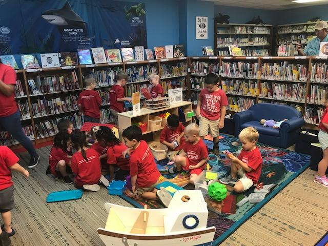 Daycare group's first visit to library on tour