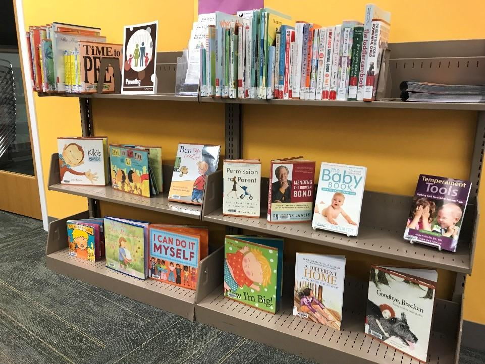 The Parenting Collection contains both fiction and nonfiction books, picture books and board books, books for children and books for adults. There are 6 shelves.