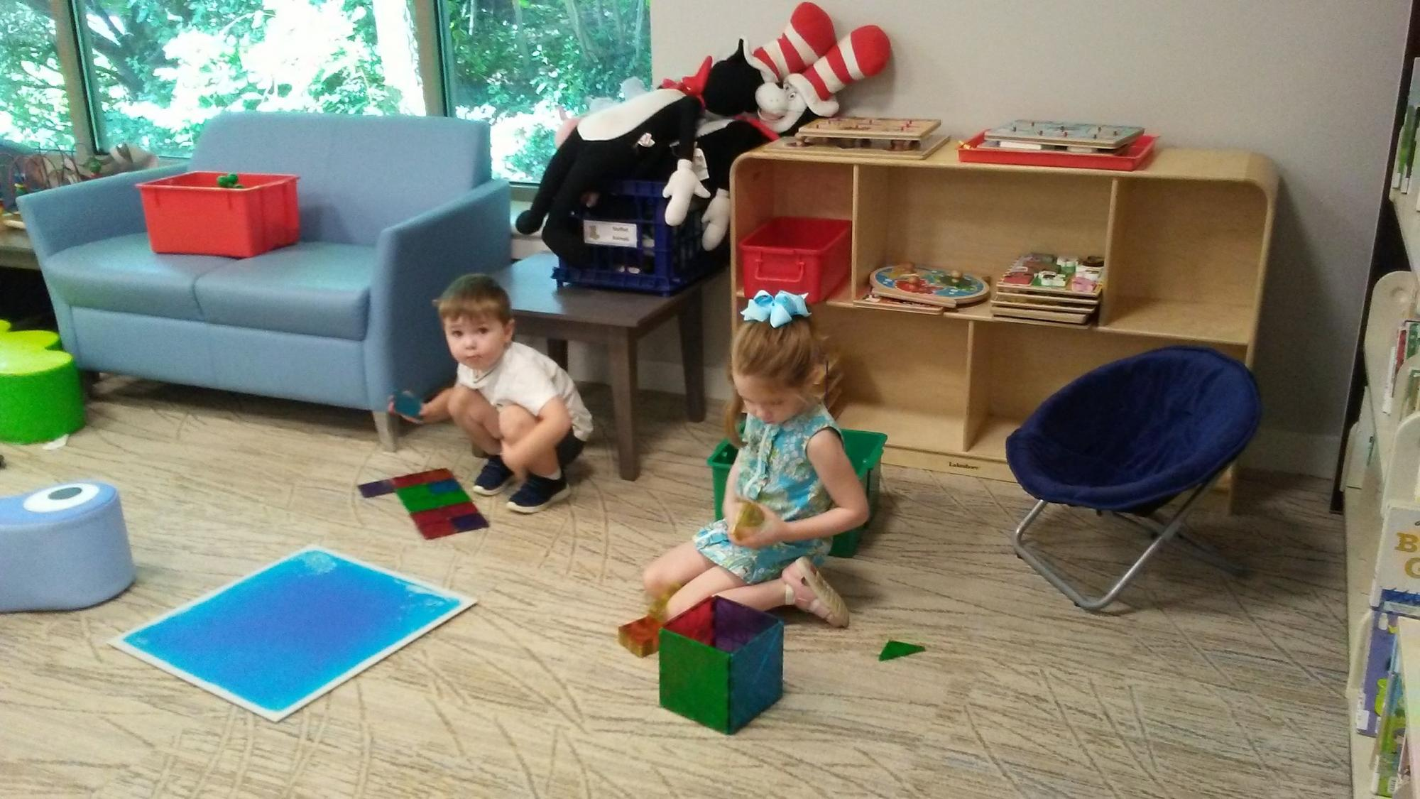 Children playing in Radnor Memorial Library Family Place Play Area