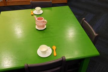 Time for tea in our play area.