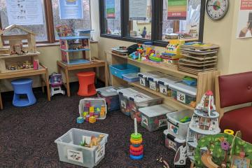 One of our playareas. The toys are very popular!