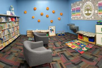 Panorama of the Family Place inside of the Jacinto City Branch Library