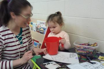 Photo of mom and child at art table during Adamstown Area Library's fall 2017 parent-child workshop